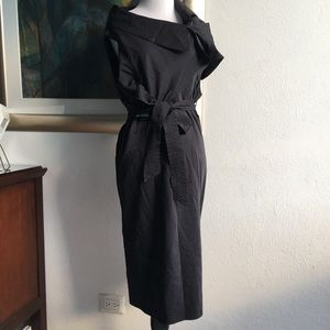 All Saints Black Structured Midi Dress size 10